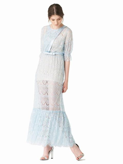 SL680 Ex UK Chainstore Cassandra Pastel Blue Lace Maxi Dress x16
